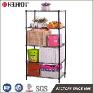 Revestimento preto 4 camadas de metal bricolage mobiliário quarto fio Prateleira Rack de armazenamento