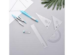 플라스틱 나침의 통치자는 수학 색칠의 7 세트를 자동적인 연필로 놓이 놓았다