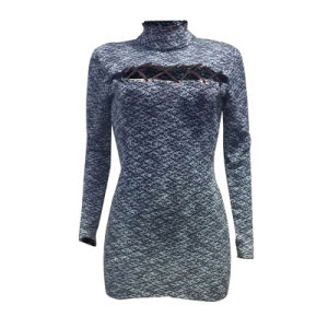 L2507 Sexy Hollow Out pullover à manches longues robe double