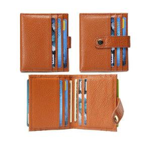 A RFID o logotipo personalizado em relevo dinheiro encaixar PU Cartão de Crédito Wallets ID couro titular do cartão Wallet