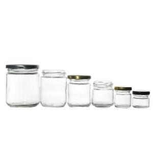 Commerce de gros de haute qualité alimentaire de plusieurs capacités vide rond en verre clair Bocal avec couvercle