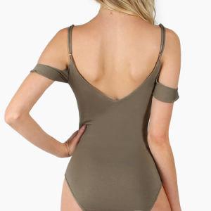 주름 장식 세부사항 Surplice 정면 v 뒤는 Bodysuit를 냉대한다