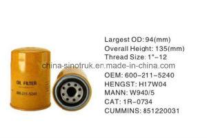 Filtro de aceite de calidad original de Komatsu 600-211-5240