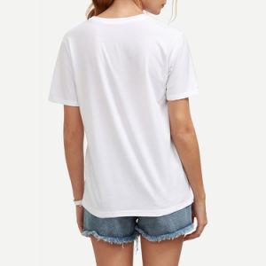 형식 백색 편지 인쇄 t-셔츠