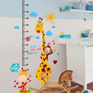 Kundenspezifisches Kurbelgehäuse-Belüftung scherzt Höhen-Messen-Karikatur-Tierwachstum-Diagramm-Wand-Aufkleber