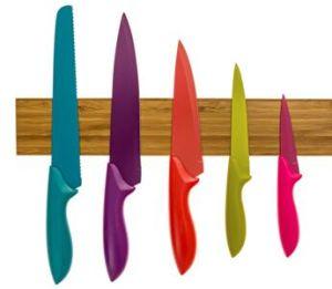 Cuchillo de cocina magnético para rack de bambú