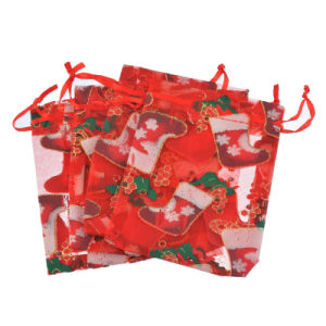 Pochette Organza de Noël personnalisée coulisse Fashion Sac Organza cosmétiques réutilisable (COB-1125)