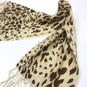 カシミヤ織のヒョウの印刷物のショールPl014