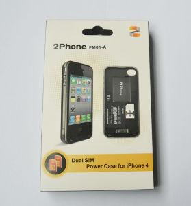 2phone verdoppeln SIM Energien-Fall für iPhone 4 Weiß eins