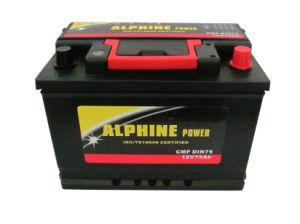 12V75Ah sans entretien/ DIN75 de l'automobile avec poignée rouge de la batterie