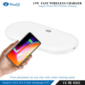 15W Qi rápida cargador de teléfono inalámbrico certificado para el iPhone/Samsung o Nokia y Motorola/Sony/Huawei/Xiaomi