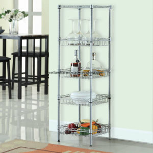 Free-standing Small 5-Shelf Kitchen Baskets Storage Metal Wire Rack Links