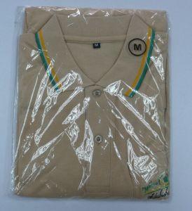 Moda camisa Polo Caqui com bolso e logotipo Bordado