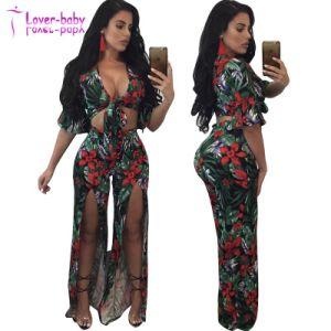 Plus Size femme Elaine Bow Tie Floral Pant Set L2009