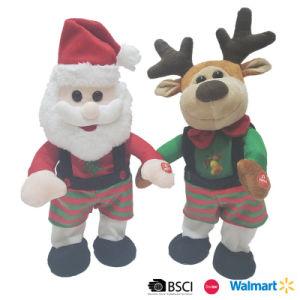Chanter et danser en peluche et des rennes de Santa
