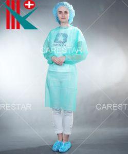 Оптовые цены на высокое качество одноразовый PP нетканого материала изоляции платье с эластичные манжеты