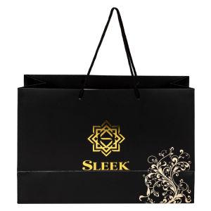 De lujo diseño plateado/Oro bolsas de papel estampado con bolsa de compras