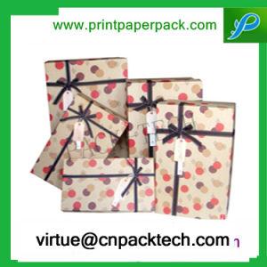 Colgante de lujo de insertar el papel de caja de regalo de cartón y tapa con cinta