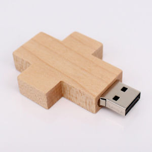 Лучшие Цены Креста формы деревянной флэш-накопитель USB с высокой скоростью