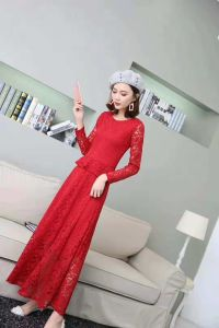 d533e11d1 El estilo europeo elegante mujer Manga Larga vestidos de moda nupcial