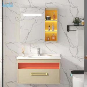 Construção de Mobiliário Casa montado na parede pia do banheiro armário com espelho de LED do conjunto de gavetas, armário de banheiro Madeira contraplacada Vanityhot venda produtos
