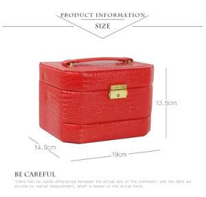 ピンクの段階的PUの革宝石類の装飾的な収納箱の構成のケース