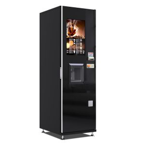Bean à la tasse de café en plein air de la machine distributrice avec de gros de la publicité de l'écran LCD