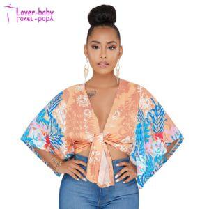 La moda V Cuello mangas de mariposa naranja camisetas impresas florales