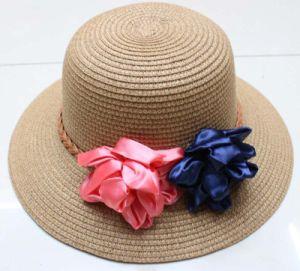 Cuchara de señoras la moda sombrero de paja