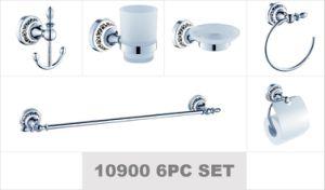 6PC défini l'hôtel de luxe moderne de zinc plaqué or en céramique des accessoires de toilette
