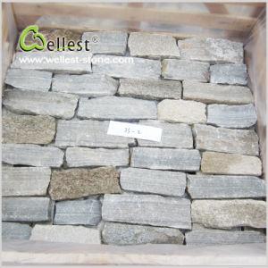 グレーがかった自然な壁の石スタック石のベニヤ