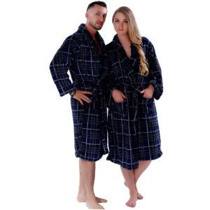 Las nuevas parejas arrecifes de lana Albornoz Marina cuadros escoceses Camisón dormir Plus Size Albornoz Bata para hombres, mujeres