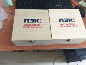 Pequeno Rectângulo de alta qualidade com caixa de madeira de pinho logotipo personalizado