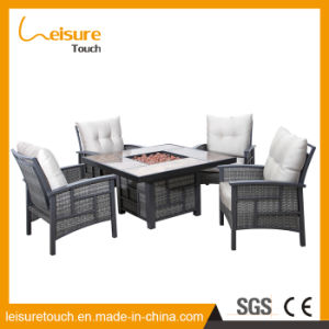Hotel moderno jardín Fire Pit Table y Rattan Silla de Comedor muebles de mimbre de calefacción al aire libre Home