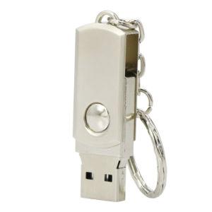 Золотой 16ГБ металлический поворотный привод пера USB флэш-памяти диска