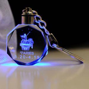 형식 3D Laser 수정같은 유리 LED 열쇠 고리