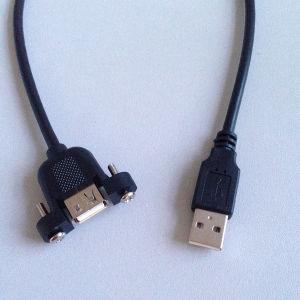 Maschio del cavo di estensione del USB 2.0 alla femmina con i fori della vite del supporto del comitato