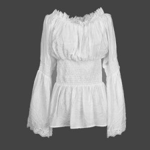 Nueva moda de la mujer y de algodón blanco Linentops BLUSA MANGA LARGA