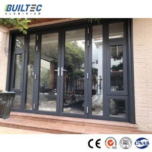 Perfil de alumínio em pó de alumínio de revestimento de vidro temperado gire a porta de entrada