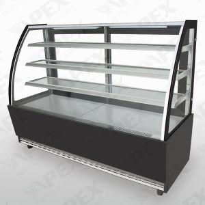 Porta de vidro curva refrigerador vitrina de exposição para estoque de bolo