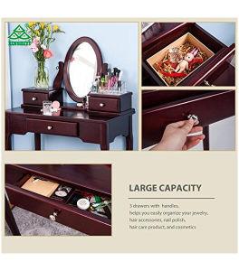 Merax vanidad con aderezo de heces maquillaje tabla con 3 cajones y espejo Bedroom (Cerezo)