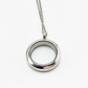 ステンレス鋼の吊り下げ式の円形のガラスネックレスの宝石類