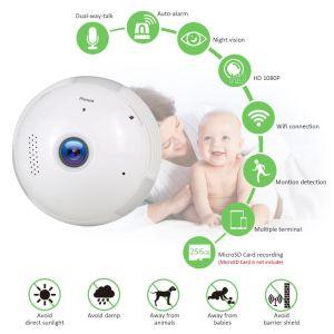 動きの検出、対面音声、夜間視界を用いる1080Pそして360度のパノラマ式の無線機密保護の球根の赤ん坊のカメラ(白い)