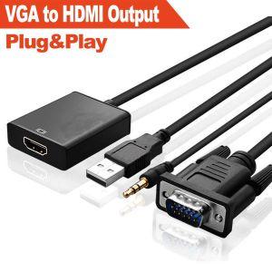 Audio VGA a HDMI Cable adaptador (Full HD 1080P+construido en el chipset)