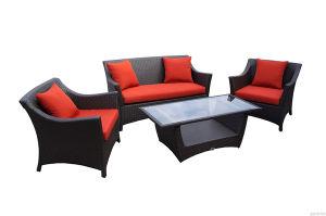 4pcs populaire jeu de salon en rotin canapé rouge