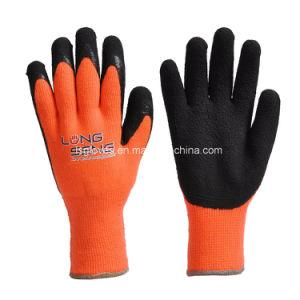 De zwarte Handschoenen van de Hand van de Preventie van het Werk van de Veiligheid van de Arbeid van het Schuim van het Latex Palm Met een laag bedekte Rubber Koude voor de Winter