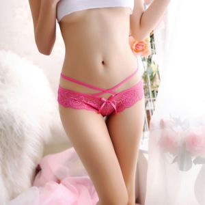 Sexy femmes Lingerie transparente à motifs floraux en dentelle G-Strings Strings culottes