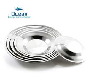 Plaque ronde en acier inoxydable, plaque de salle à manger