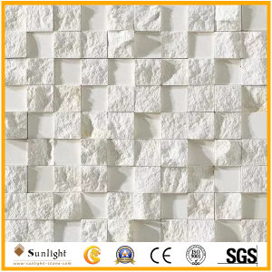 建物の装飾のための自然な石造りの白い四角のモザイク・タイル