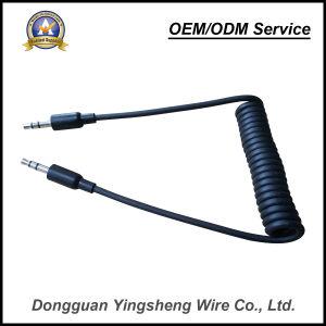 De goedkope Kabel van de Lente van de Oppervlakte PUR van de Prijs Zwarte Vlotte Elastische 3.5mm Audio